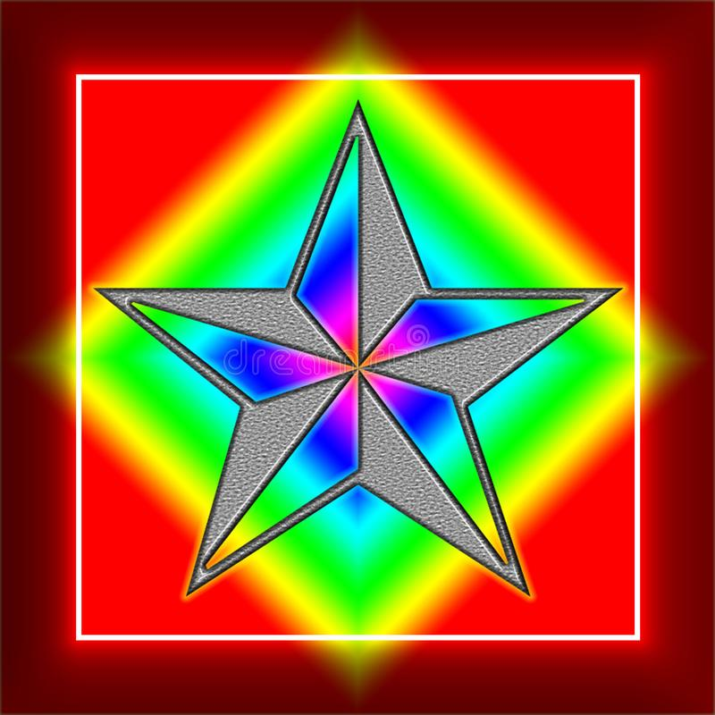 Seamless-pattern-five-pointed-stars-on-a-red-background-translucent-colors-digital-computer-graphic-design. Colors have a huge effect on people. The color silver royalty free illustration
