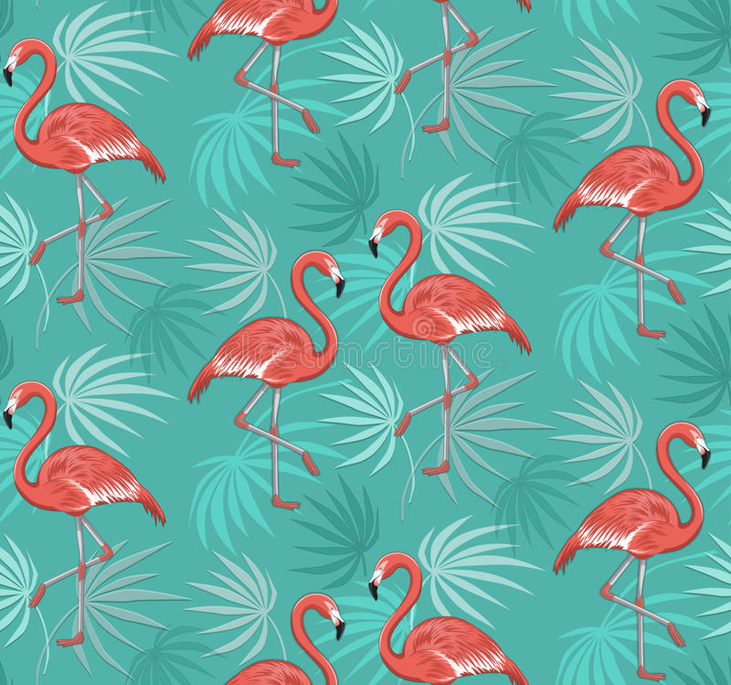 Seamless Pattern with Flamingo Birds and Tropical Leaves stock illustration