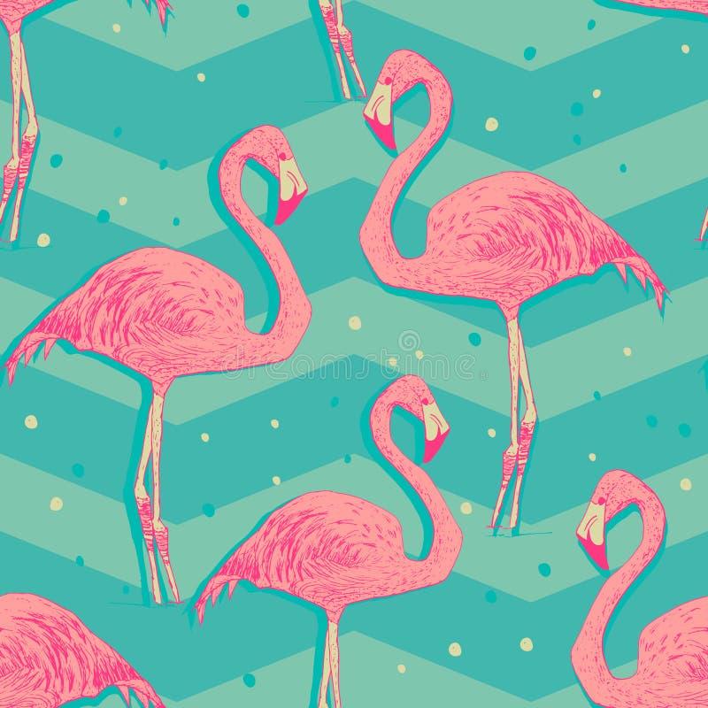Seamless pattern with flamingo birds stock illustration