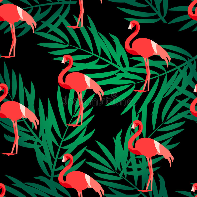 Seamless pattern with flamingo and green palm branches. Ornament for textile and wrapping. Vector summer background stock illustration