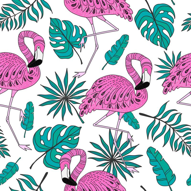Seamless pattern with flamingo. Hand drawn vector tropical elements on white background vector illustration