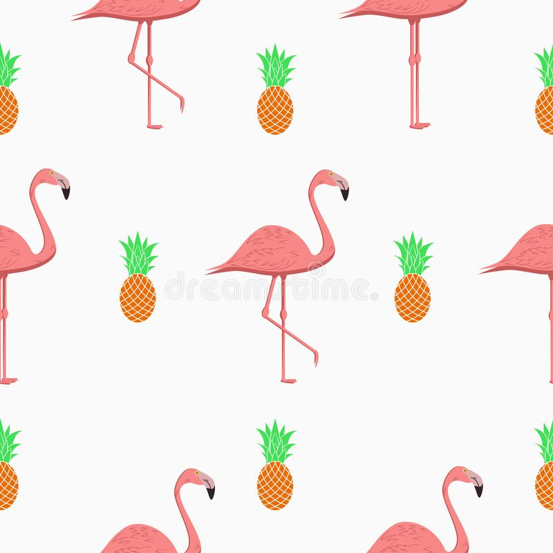 Seamless pattern with flamingos and pineapples. Exotic tropical background. Vector. stock illustration