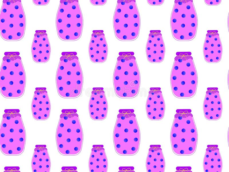 Seamless pattern of flat blueberry compotes in glass jars with berries inside on a white background. stock illustration
