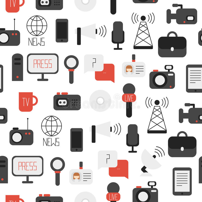 Seamless pattern of of flat colorful vector. Seamless pattern of of flat vector journalism icons. Mass media. Communication vector illustration