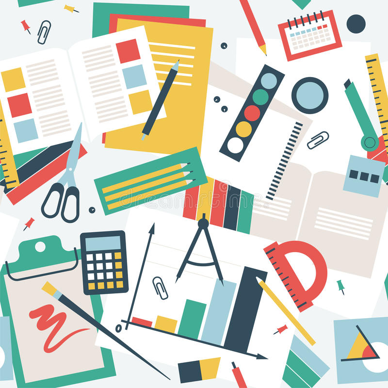Seamless pattern in flat style, desk of the student with books, notebooks and stationery stock illustration