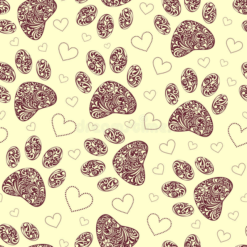 Seamless pattern with floral animal paw print royalty free illustration