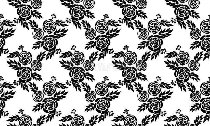 Seamless pattern floral christmas, black flower on white background stock illustration