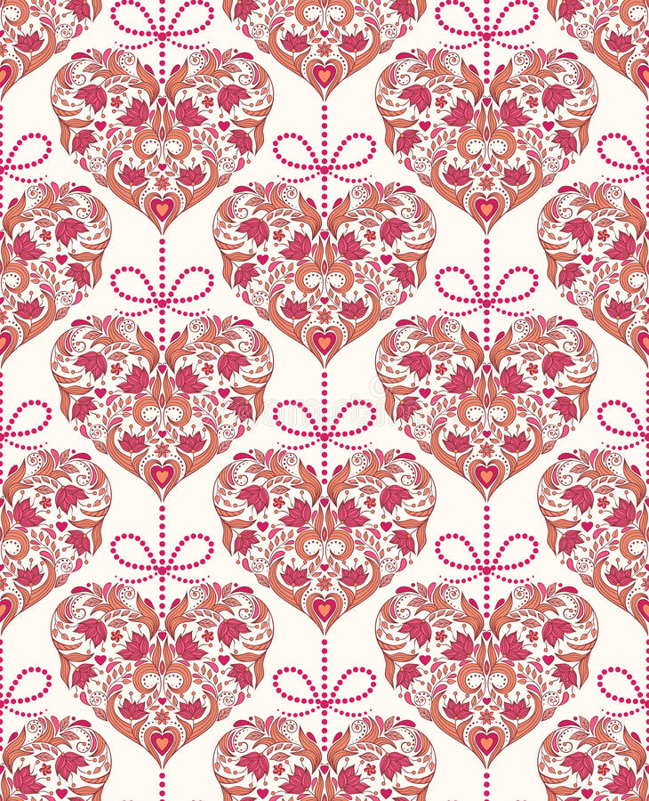Seamless pattern with floral colorful hearts stock illustration