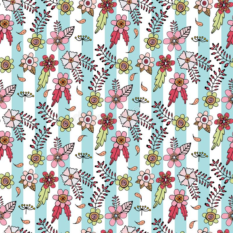 Seamless pattern with floral doodles on light blue and white striped background stock illustration