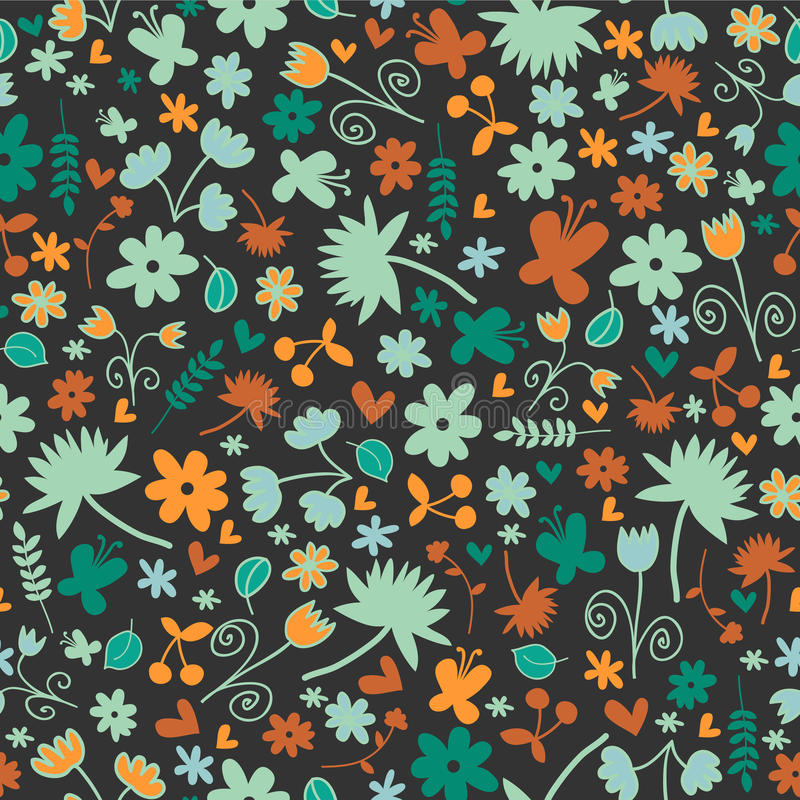 Seamless Pattern With Floral Elements Stock Images