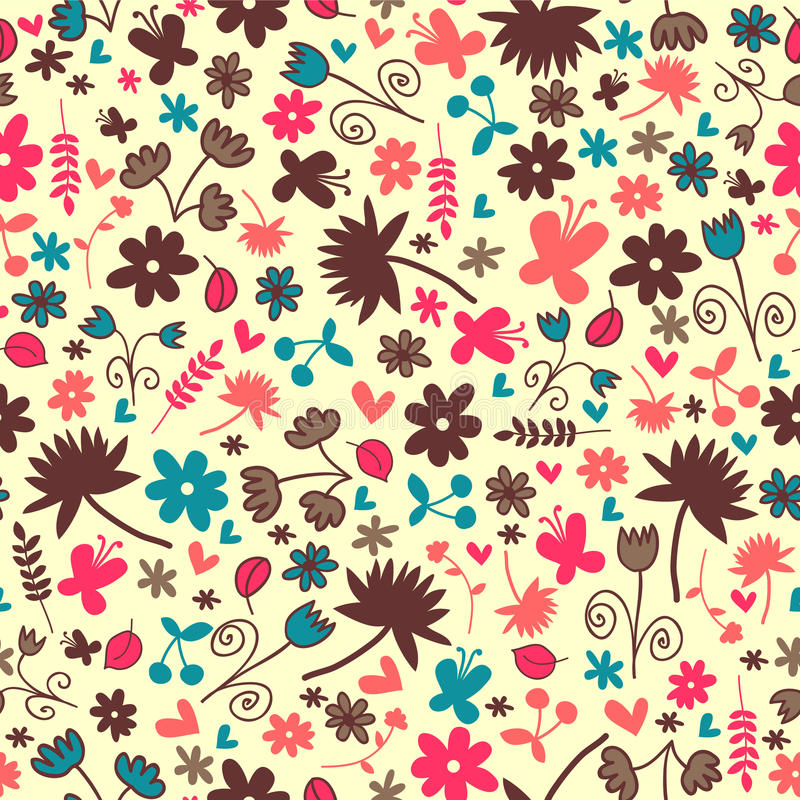 Seamless Pattern With Floral Elements Royalty Free Stock Photography