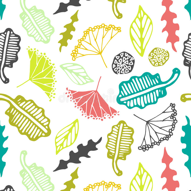 Seamless pattern with floral elements and leaves. Vector abstract background. stock illustration