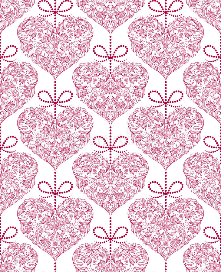 Seamless pattern with floral hearts stock illustration