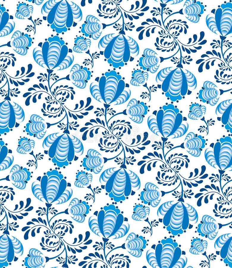 Seamless pattern with floral ornamen stock illustration