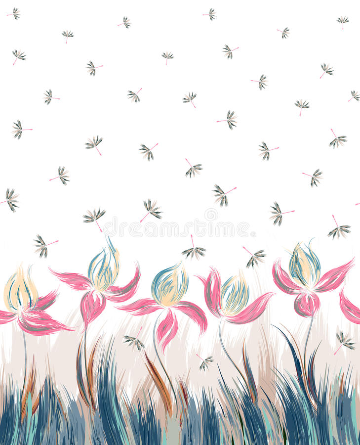 Seamless pattern with floral ornament, irises in a grunge style on white background. Vertical Floral seamless pattern of irises and dandelion seeds. Creative stock illustration