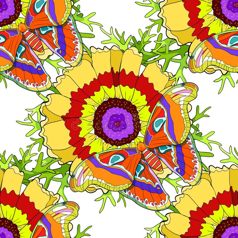 Seamless pattern flower Chrysanthemum keeled Masquerade with But vector illustration