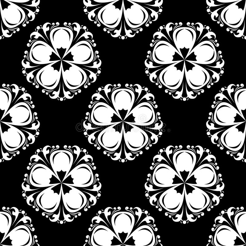 Seamless pattern with flower element. Black and white abstract wallpaper royalty free illustration