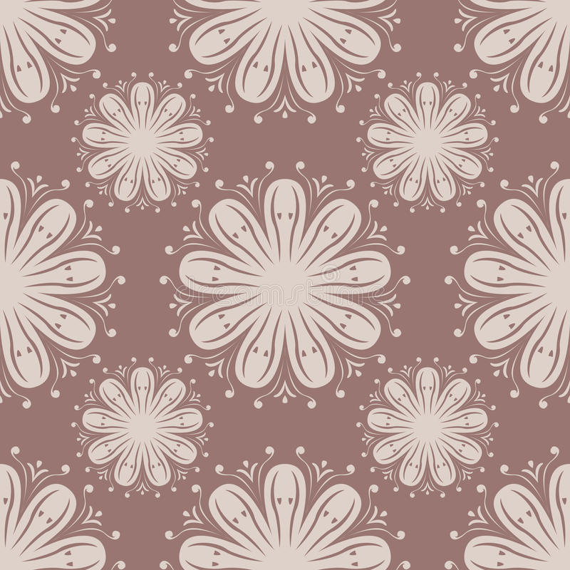 Seamless pattern with flower element. Brown and beige abstract wallpaper royalty free illustration