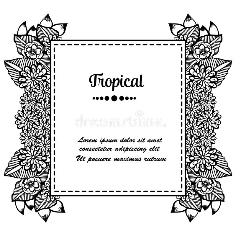Seamless pattern flower frame, style unique frame, for concept tropical card. Vector stock illustration