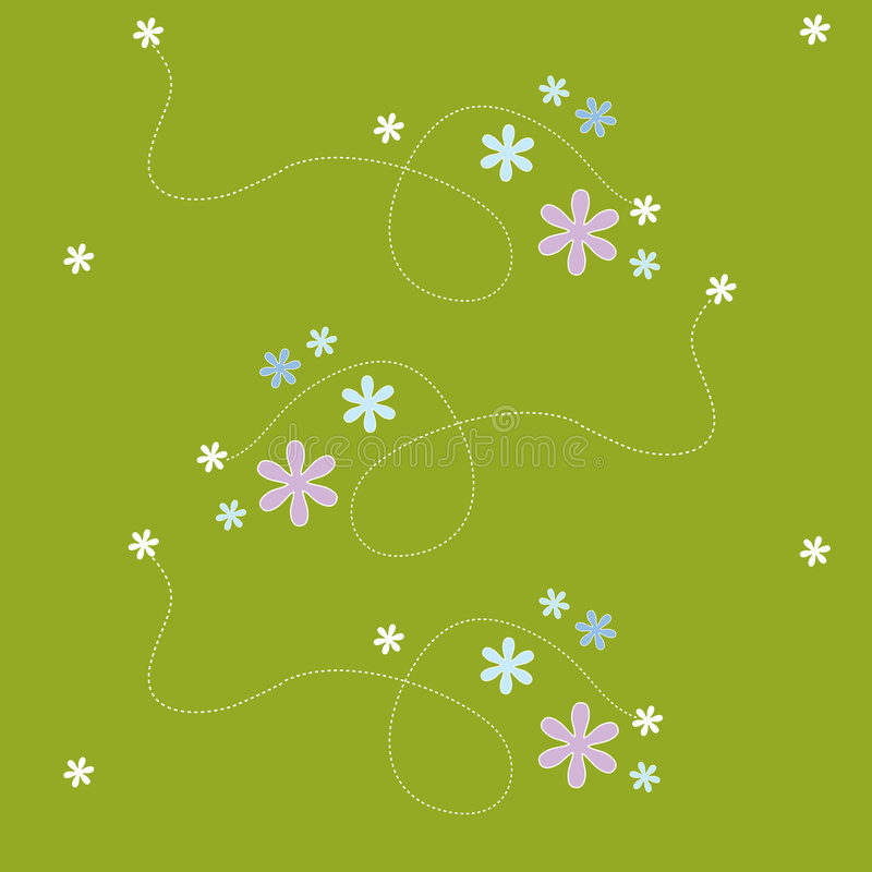 Seamless pattern- flower green stock illustration