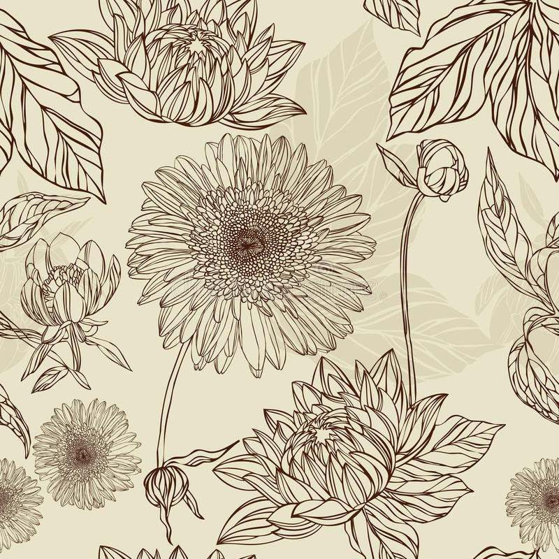 Seamless pattern flower and leaf in retro style royalty free illustration
