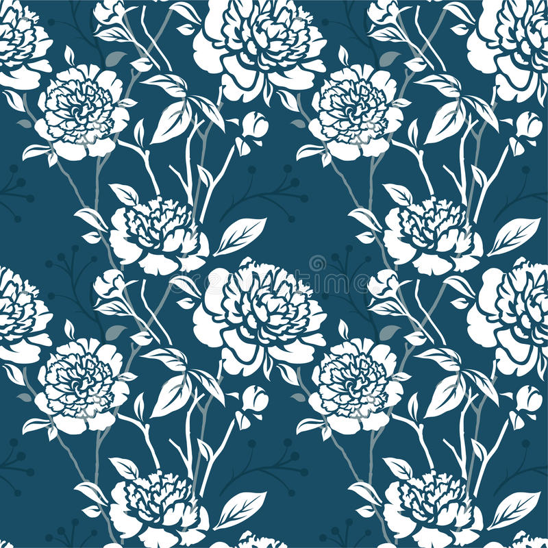 Seamless pattern with flowers stock illustration