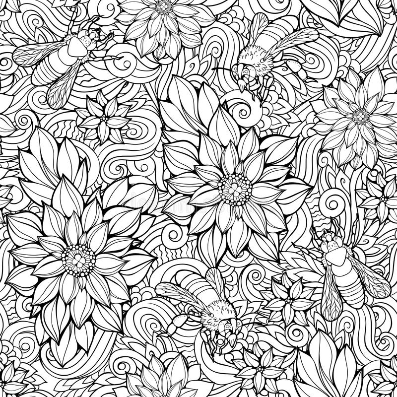 seamless pattern of flowers and bees. vector illustration