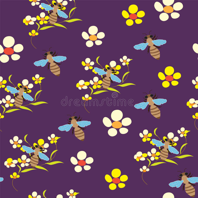 Seamless Pattern With Flowers And Bees On Violet B Stock Images