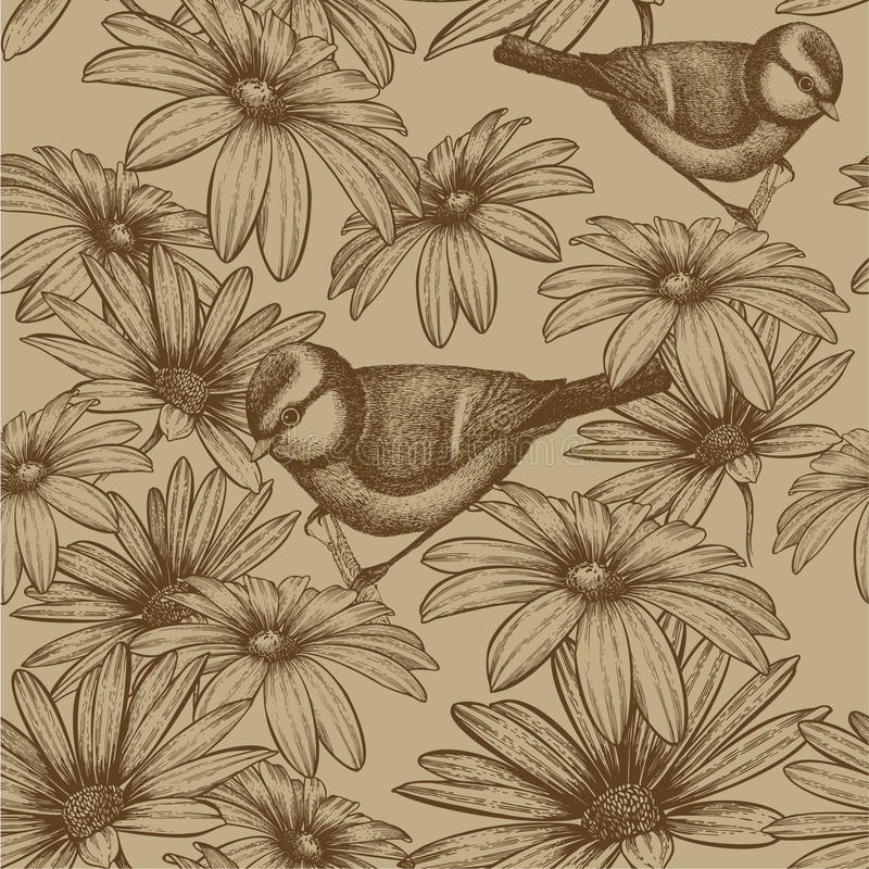 Seamless pattern with flowers and bird titmouse. V vector illustration