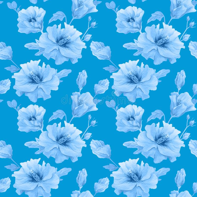Seamless pattern with flowers on a branch vector illustration