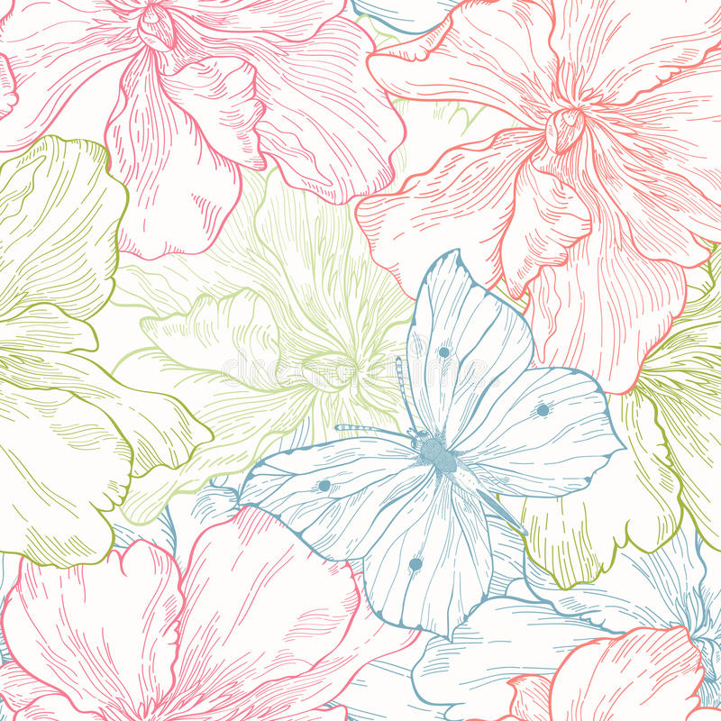 Seamless pattern with flowers and butterflies stock illustration