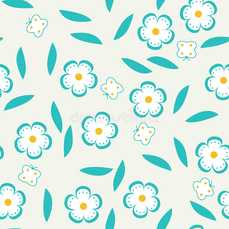 Download Seamless Pattern With Flowers And Butterflies. Stock Vector - Illustration of decorative, blossom: 39505999