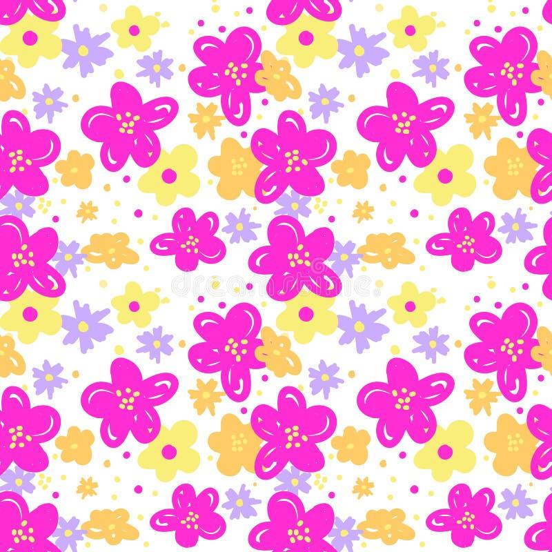 Seamless pattern flowers vector illustration