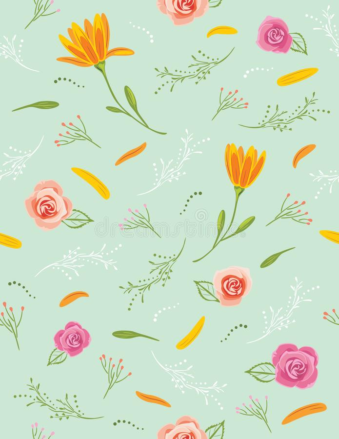 Seamless pattern with flowers for cover design stock photography