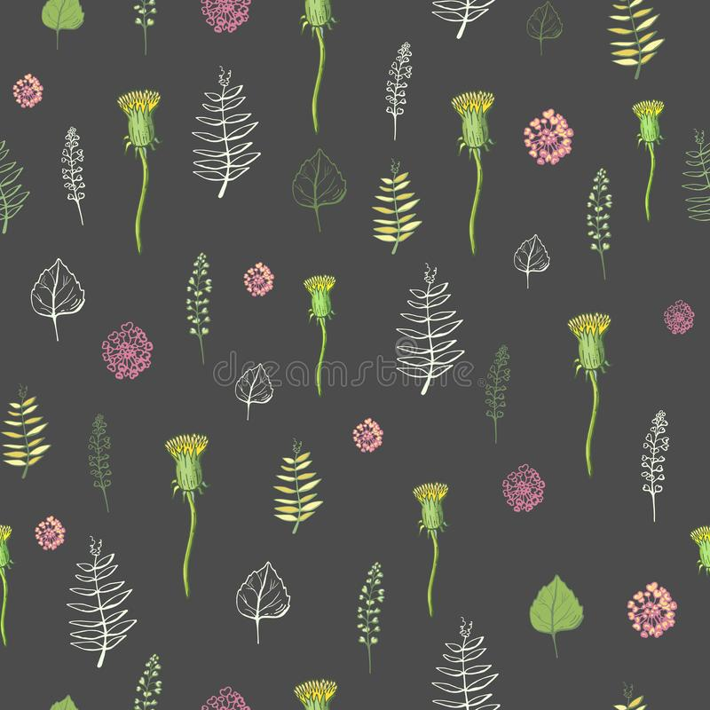 Seamless pattern of flowers on a dark background stock illustration
