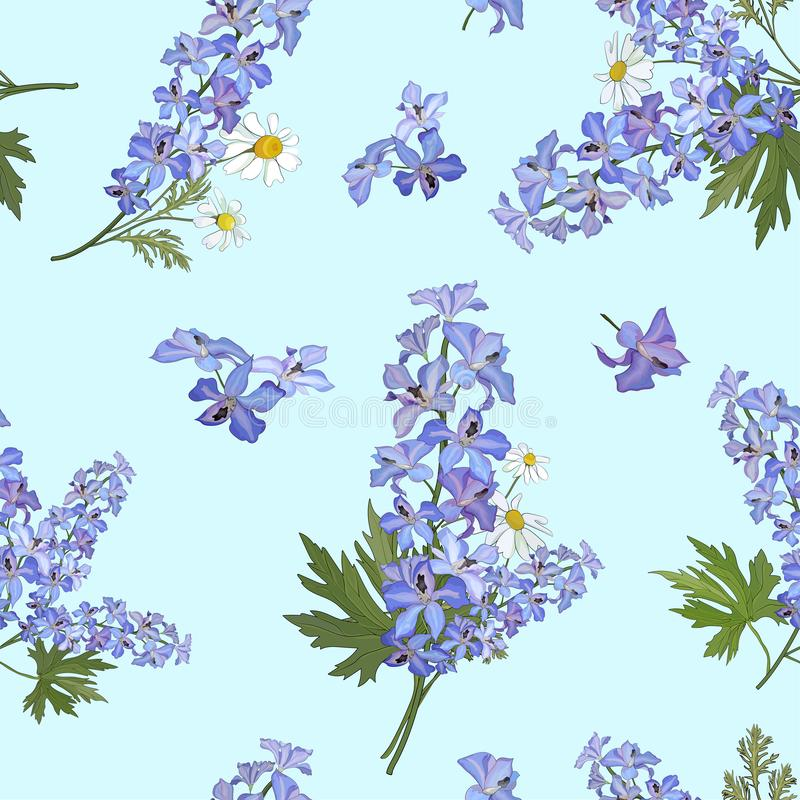 Seamless pattern with flowers of delphinium and daisies on a blue background.Vector stock illustration