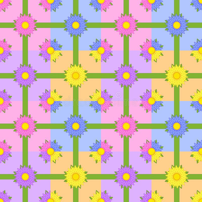 Seamless pattern of flowers with green ribbons on colorful squares.  stock illustration