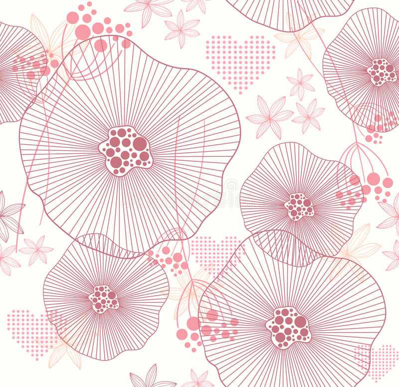 Seamless pattern with flowers and hearts stock illustration