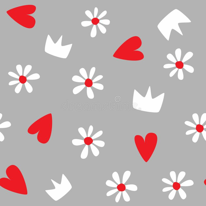 Seamless pattern with flowers, hearts and crowns. Creative print for children and teenagers. Vector illustration stock illustration