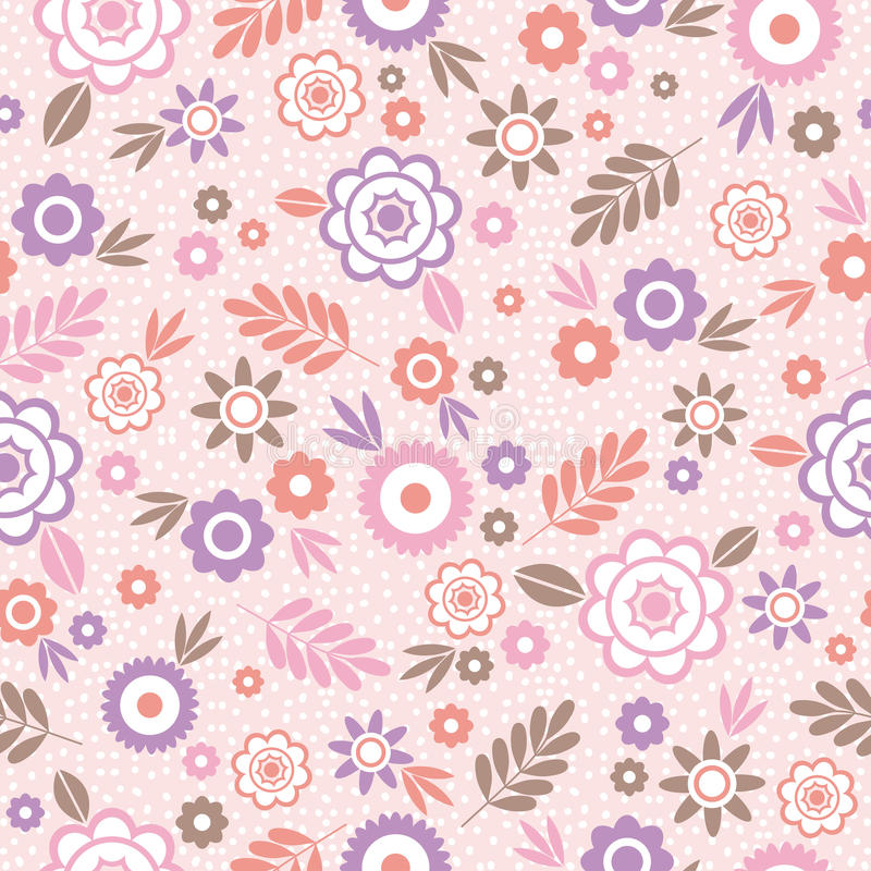 Seamless Pattern with flowers and leafs. Ideal for printing stock image