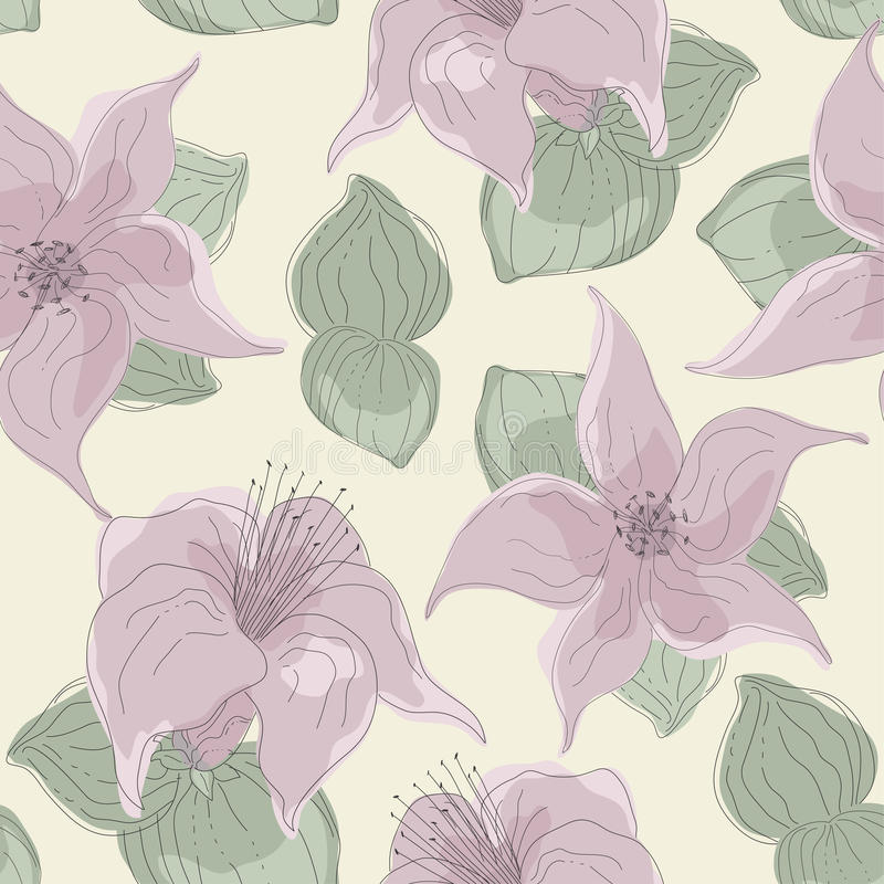 Seamless Pattern of Flowers and Leaves stock illustration