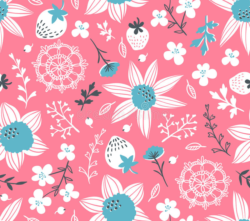 Seamless pattern with flowers, leaves, berries and lace. Endless background. vector illustration
