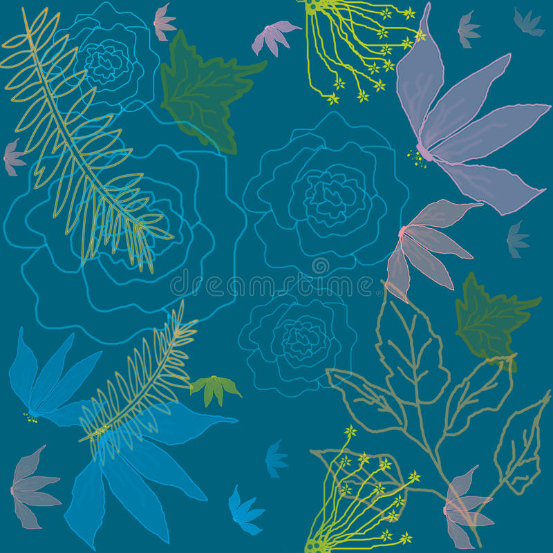 Seamless pattern with flowers and leaves. On blue background stock illustration