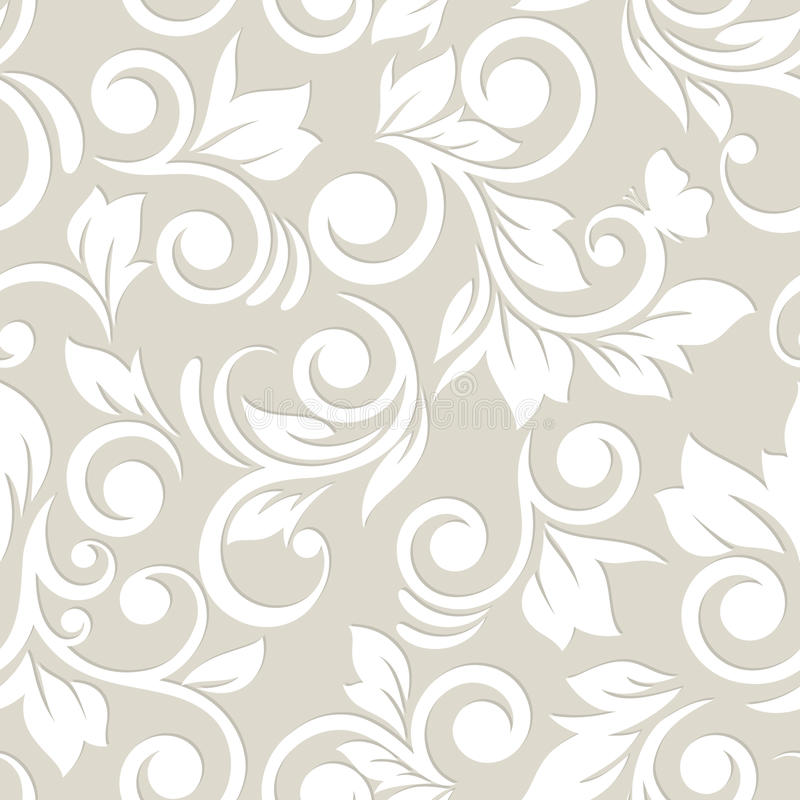 Seamless pattern with flowers and leaves. Floral ornament. Paste royalty free illustration