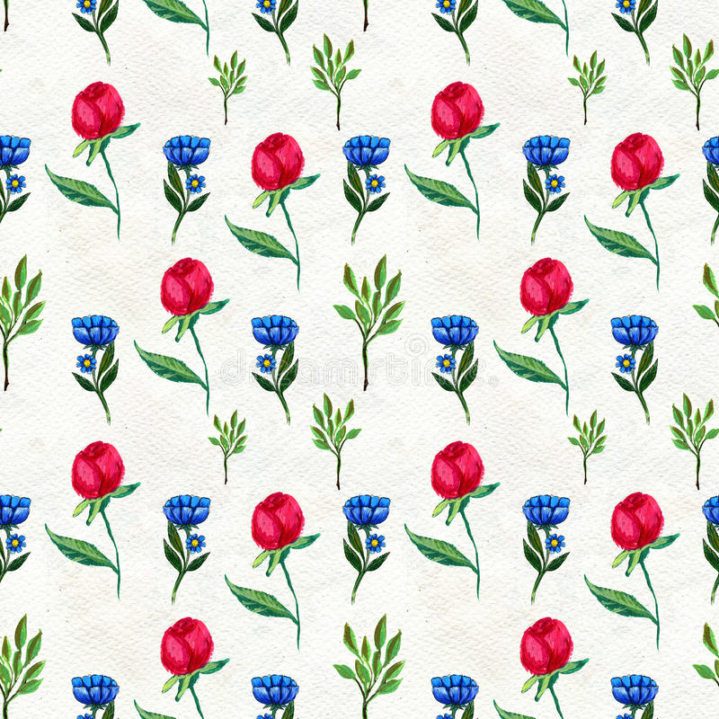 Seamless pattern with flowers and leaves. Floral watercolor background royalty free illustration