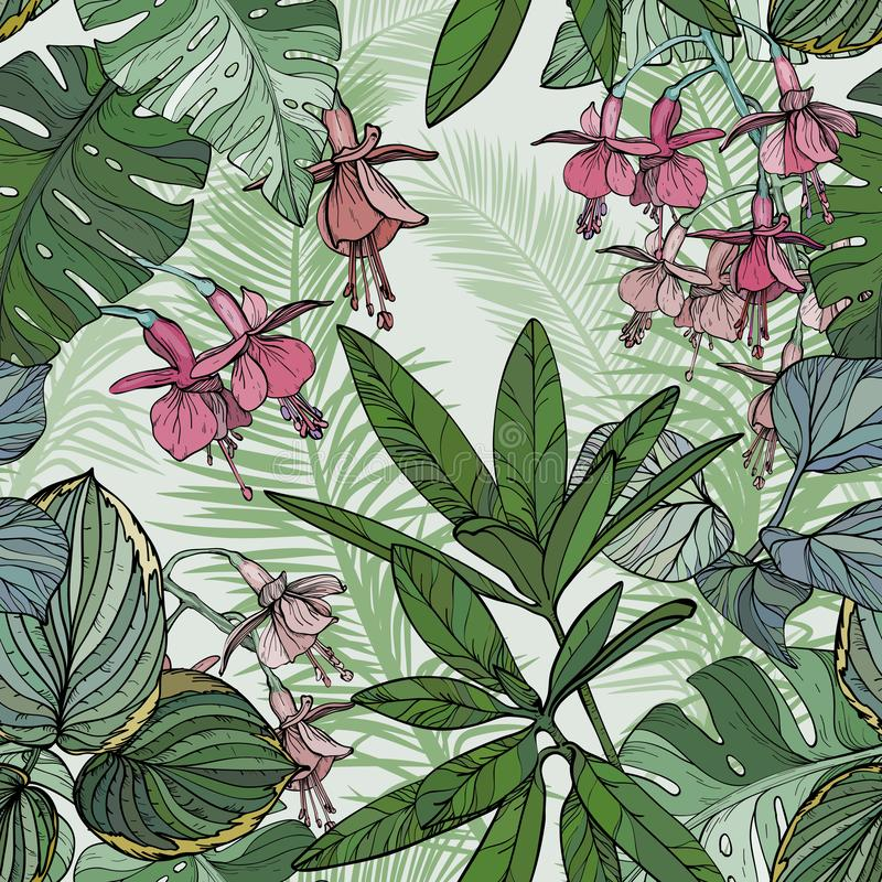 Seamless pattern with flowers and leaves, hand drawn plants stock illustration