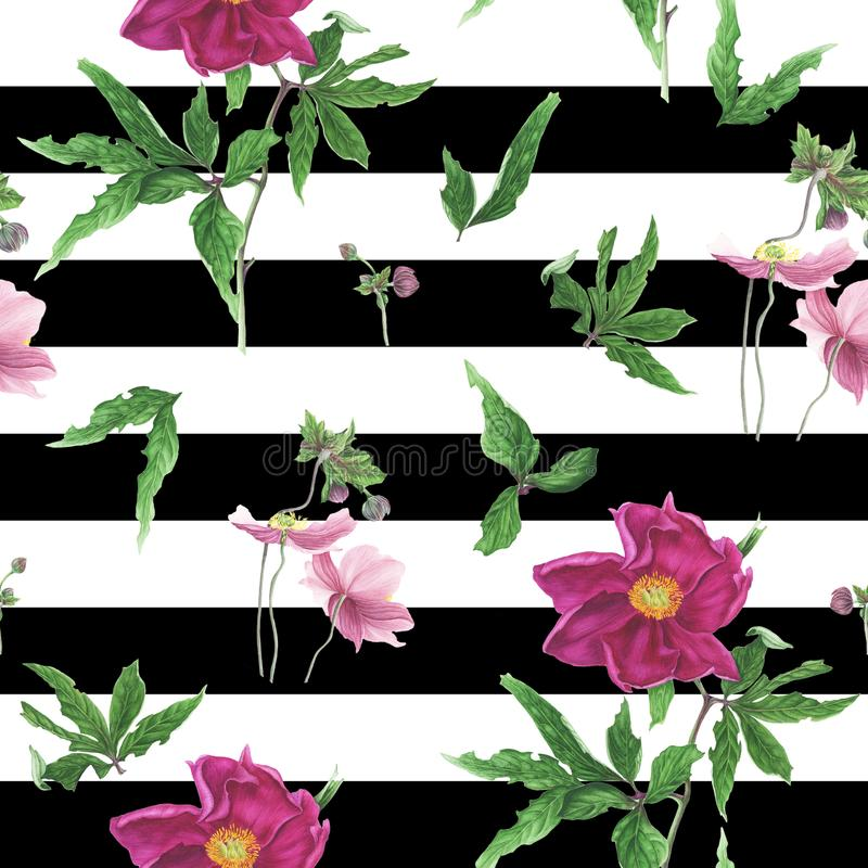 Seamless pattern with flowers and leaves of pink peony and anemones, watercolor painting vector illustration