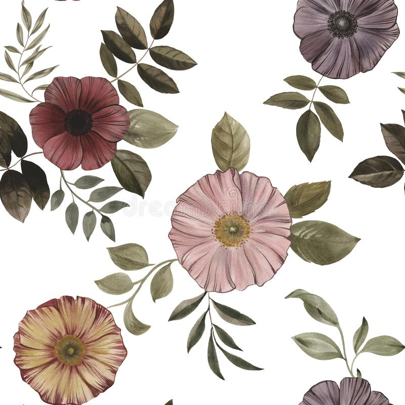 Seamless pattern of flowers and leaves on a white background. stock photo