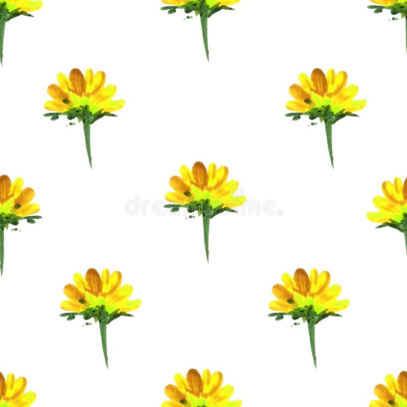 seamless pattern of flowers painted watercolor. Colorful flowers, twigs and leaves. Isolated white background. Print for fabric, stock illustration