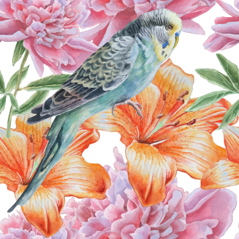 Seamless pattern with flowers and parrot. stock illustration